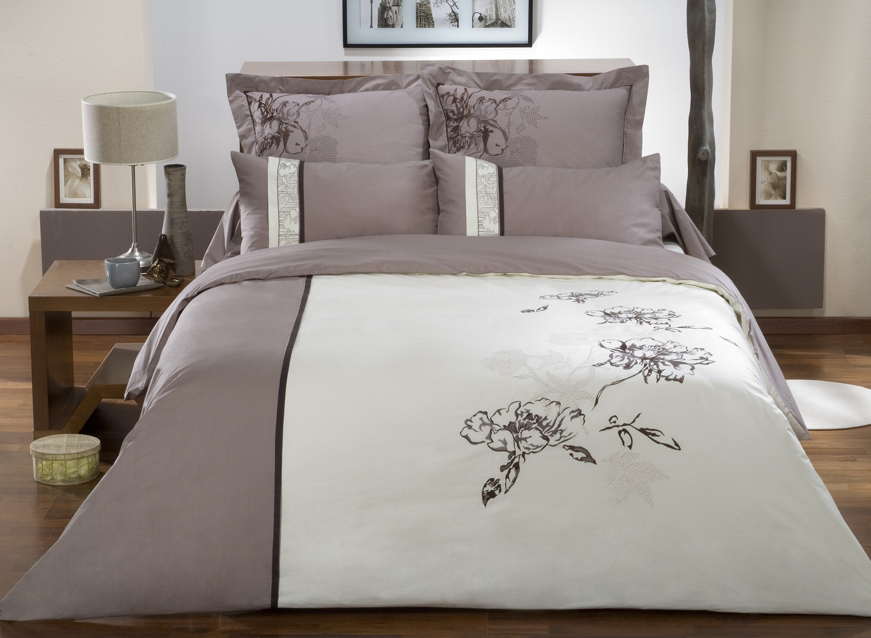 Linge de lit en percale de coton drap housse de la collection chocolat la malle des anges - Drap housse couette integree ...
