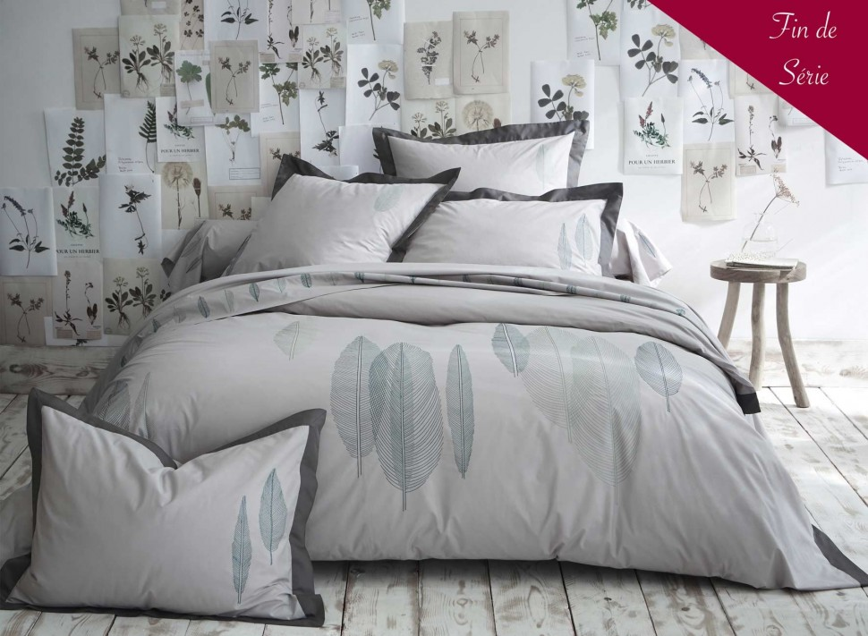 linge de lit brod nature percale de coton la malle des anges. Black Bedroom Furniture Sets. Home Design Ideas