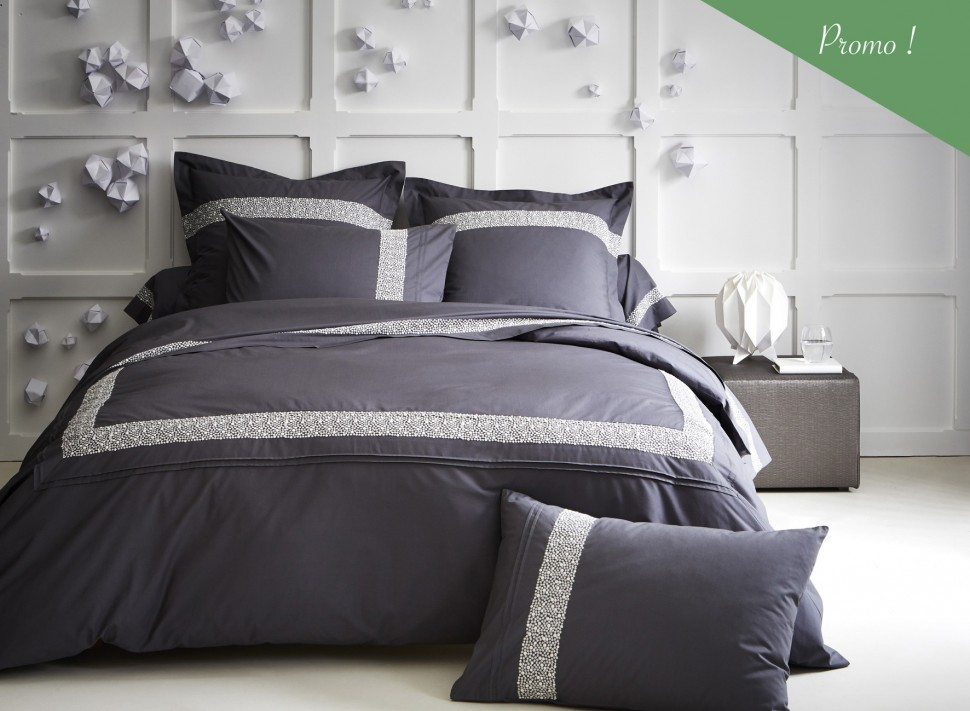 linge de lit brod roches percale de coton la malle des anges. Black Bedroom Furniture Sets. Home Design Ideas
